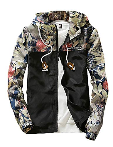 Rexcyril Men's Windbreaker Jacket, Floral Bomber Jacket Hooded Lightweight Zip-up Drawstring Flower Coat Black Medium