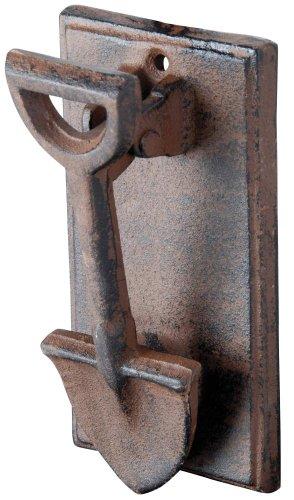 Esschert Design Türklopfer mit Motiv Spaten aus rötlichem Gusseisen, antik wirkend, ca. 8,4 cm x 5,5 cm x 16 cm