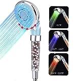 LED Alcachofa Ducha, Alta Presiòn Cabeza de Ducha de Mano con 3 Cambio de color con la Temperatura, 30% Ahorro de Agua para Baños con filtro de bola mineral