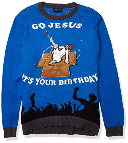 Blizzard Bay Men's Breakdancing Jesus Ugly Christmas Sweater, Navy/Black, Small