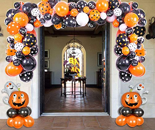 Kubert Halloween Balloon Garland Arch kit 146 Pieces with Halloween Spider Web Black Orange Polka Dots Balloons Pumpkin Ghost Foil Balloons for Halloween Day Party Decorations