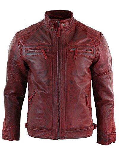 Chaqueta para hombre de cuero suave 100 % auténtico de estilo motero retro rojo XXXL