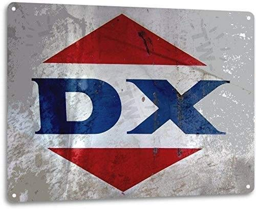 Tin Signs 2 Pack DX Motor Oil Garage Shop Gas Retro Vintage Look Rustic Wall Decor Metal 8x12in