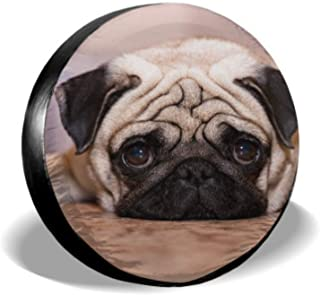 KUneh Dog Pug Lies On Floor Car Tire Cover Best Tire Cover Tire Cover Waterproof Uv Sun 14 - 17 Fit for Jeep Trailer Rv SUV and Many Vehicle