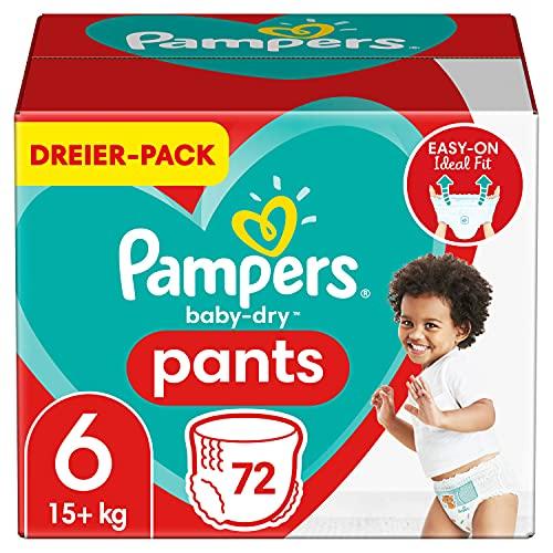 Pampers Windeln Pants Größe 6 (15+kg) Baby Dry, 72 Höschenwindeln, Einfaches An- und Ausziehen, Zuverlässige Trockenheit