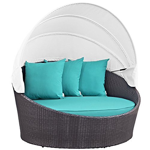 Modway Convene Wicker Rattan Outdoor Patio Retractable Canopy Round Poolside Sofa Daybed in Espresso Turquoise