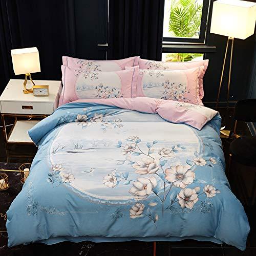 yaonuli Katoen Dikke pop Comic 4-delig katoenen deken warm groen 1,5 m dekbedovertrek beddengoed 200 x 230