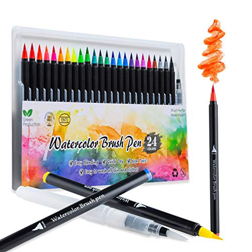 Real Brush Pens, Watercolor Brush Pens 24 Colors Brush Pen Set, Flexible Nylon Tips Watercolor Markers with 1 Water Pen, Washable Nontoxic Calligraphy Markers for Beginners and Artists