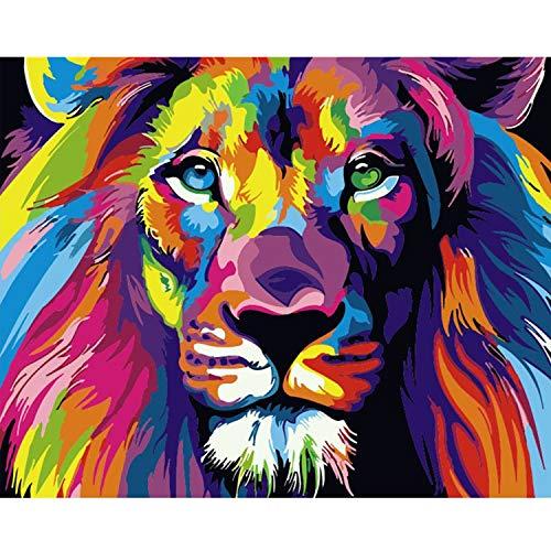 HitTopss DIY Malen Nach Zahlen-Vorgedruckt Leinwand-Ölgemälde Geschenk für Erwachsene Kinder Kits Home Haus Dekor, Bunter Löwen 40 * 50 cm