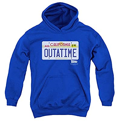 Adults Royal Blue Outatime License Plate Hoodie,  L to X-Large