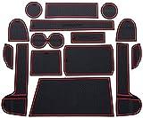 , para Mitsubishi Eclipse Cross 2018-2020 Ranura de Puerta Interior Alfombrilla de Goma Alfombrilla para Taza de Agua Alfombrillas Antideslizantes 12 Piezas Estilo de Coche Rojo Blanco-Rojo_Negro