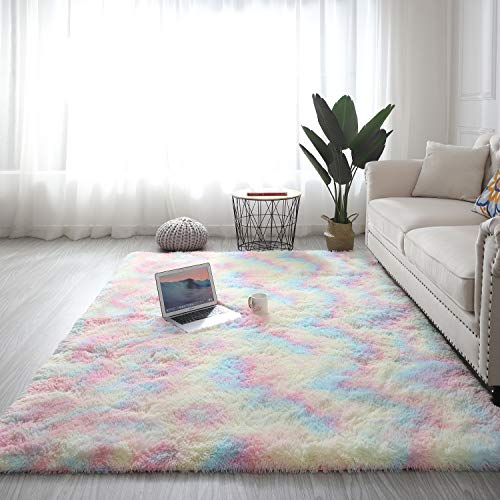 Ewolee Flauschiger Teppich, Modern Großer Zottige Teppiche, Kunstpelz Teppich, Wohnzimmer, Schlafzimmer Teppiche, Regenbogenverlaufsfarbe, 120 x 160 cm