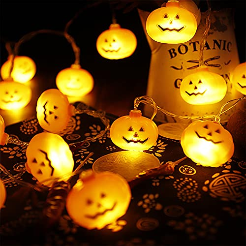 AnNido Halloween String Lights, LED Pumpkin Holiday Lights Decorations Decor for Indoor Outdoor Outside Yard, 30 LED Battery Operated 3D Party Orange Small Strobe Flickering Lights, 14.8 feet