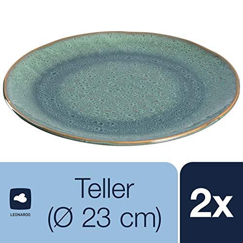 Leonardo Teller Matera 2-er Set, 22,5 cm, 2 Keramik Teller, spülmaschinengeeignet, mit Glasur, grün, 026985