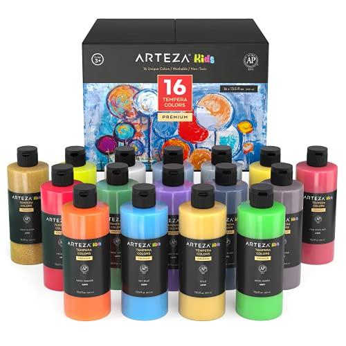 Arteza Témperas para niños | Botellas de 400 ml | Caja de 16 colores de pintura al temple | Incluye Neón + Colores Metálicos + Purpurina | Fáciles de aplicar | Pinturas para niños y pintores amateurs