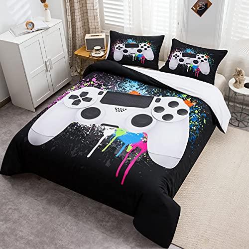 Tbrand Gamepad Bettbezug Set Jungen Gamer Bettwäsche Set 135x200cm Weißes Videospiel Gamepad Betten Set Für Jugendliche Kinder Schlafzimmer Dekor Bunte Krawattenfarbe Modern Game Controller