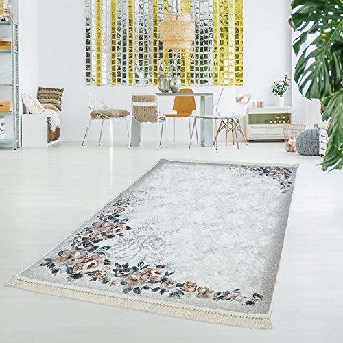 Druktapijt, tapijt, vlakpolig, polyester, wasbaar, klassiek, rozen, bloemen, beige, grijs, 130 x 200 cm
