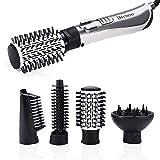 4 in 1 Lockenstab Warmluftbürste, Lonen Rotating Brush Haarglätter Automatisch für Dry & Wet, 1000-1250W