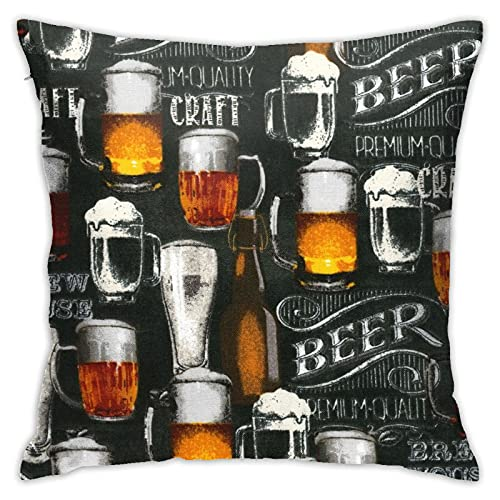 Cool Beer Bar Craft Brewery Throw Fundas de almohada acogedoras y cuadradas, fundas de almohada impresas decorativas para sofá/hogar/sala de estar 45,7 x 45,7 cm