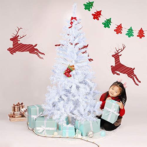 Froadp 210cm Árbol de Navidad Artificial con Soporte Estable y 750 Ramas de Simulación Tradicional para Navidad Decoración de Fiesta de Manualidades(PVC Blanco)