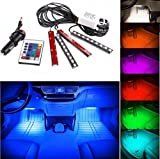 RGB FULL COLOR KIT 4x Lichtleisten Innenraumbeleuchtung Atmosphäre Lampe Licht (versand aus deutschland) innen beleuchtung + Netzkabel durch Zigarettenanzünder + Fernbedienung - Hallenwerk