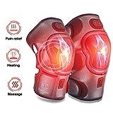 Électrique Genou Masseur, Genouillères Chauffantes avec Massage de Vibration, 3 Température avec Thérapie Thermique pour les Muscles de l'Arthrite Soulagement de Douleur de Blessure (1 Paire)