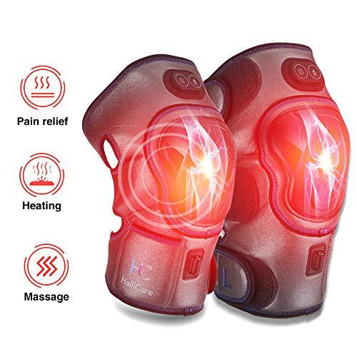 Elektrisches Knie Massagegerät, 1 Paar Wireless Knee Pads 3 Temperatur mit Wärmetherapie & Vibrationsmassage, Wärme Knee Brace Knieschoner Physiotherapie für Arthritis Muskeln Schmerzlinderung
