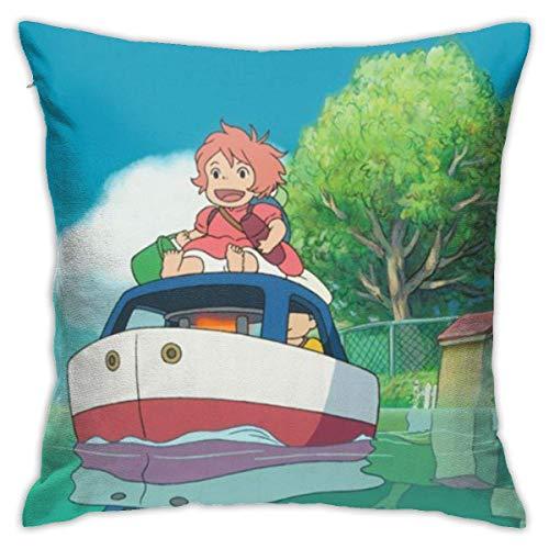 Fantasi tecknad ponyo på klippan prydnadskuddöverdrag dekorativa bomullspilloaser för vardagsrum soffa bäddsoffa mjuka kuddfodral 45 cm x 45 cm (18 x 18 tum)