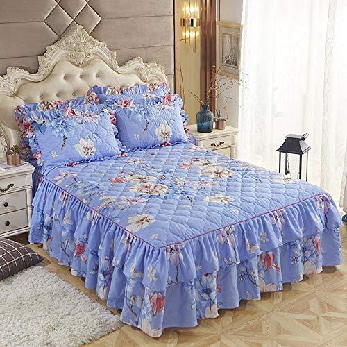 CYYyang Protector de colchón, algodón, poliéster, Hoja de Cama de Encaje de Falda de Cama gruesa-28_180 * 220cm