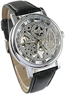 Mens Mechanical Skeleton Watch Hand Wind Up Silver Dial Black Leather Strap