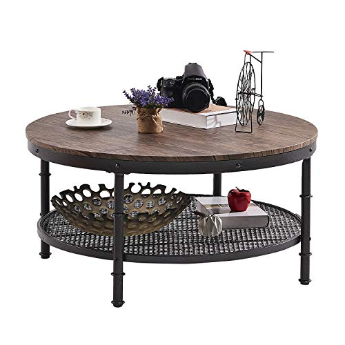 """GreenForest Coffee Table Round 35.4"""" Industrial 2-Tier Sofa Table with Storage Open Shelf and Metal Legs for Living Room, Rustic Walnut"""