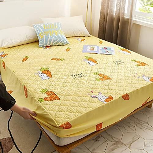 XGguo Protector de colchón Acolchado - Microfibra - Transpirable - Funda para colchon estira hasta Impresión de una Sola Pieza de sábana Impermeable-7_90 * 200cm