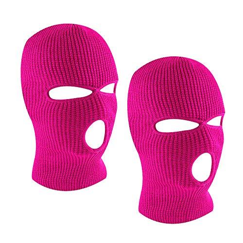 SUNTRADE 3-Loch Skimaske Gesichtsmaske Sturmhaube für Damen und Herren, 2er-Set Gr. Einheitsgröße (Rosa Rot x 2)