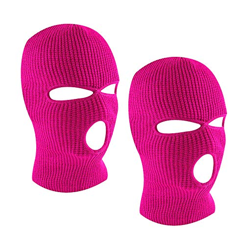 SUNTRADE 3-Hole Ski Face Mask Balaclava for Men and Women,Set of 2 (Rose Red)
