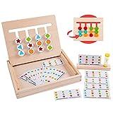 Rolimate Juguetes de Madera Rompecabezas de clasificación de Cuatro Colores y Formas acertijos a Juego Juegos de lógica Montessori Juguetes educativos para niños de 3 4 5 6 7 años de Edad niñas