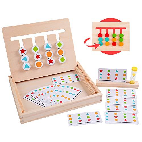 Rolimate Juguetes de Madera Rompecabezas de clasificación de Cuatro Colores y Formas acertijos a Juego Juegos de lógica Montessori Juguetes educativos para niños de 3 4 5 6 7 años de Edad niña