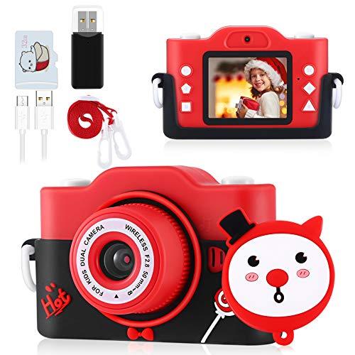 Blackpoola Appareil Photo pour Enfants, Appareil Photo Numérique Jouet pour Enfants de 3 à 12 Ans, Écran 1080P HD, Carte 32 Go, Appareil Photo Selfie 8 Mégapixels, Chargement USB (Rouge)
