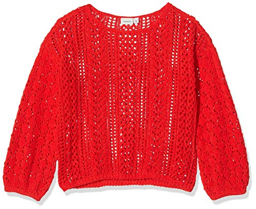 NAME IT Mädchen NKFTILLY LS Knit Pullover, Rot (High Risk Red High Risk Red), 134-140