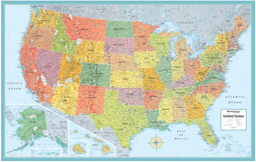 Rand Mcnally Us Wall Map (M Series U.S.A. Wall Maps) 50'x32'