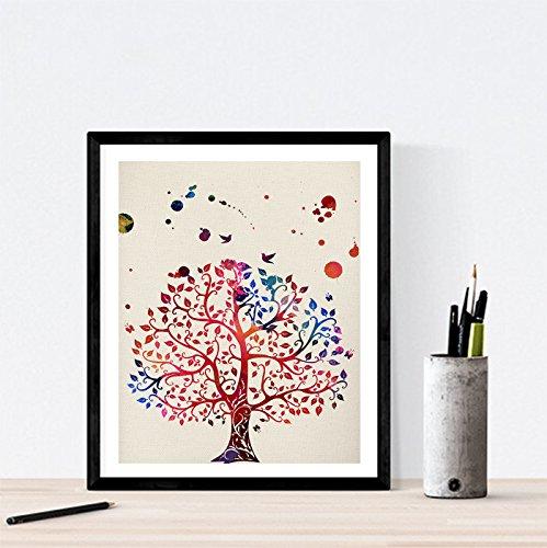 Nacnic Stampa Artistica in Stile acquarello Primo Piano Albero. Colori Vivaci. Immagini di Piante e Natura. Stampato su Carta da 250 Grammi di Alta qualità.