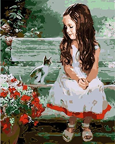 GenericBrands DIY Malen Nach Zahlen-Vorgedruckt Leinwand-Ölgemälde Geschenk für Erwachsene Kinder Kits Home Haus Dekor - Gartenliege Mädchen und Katze 40X50cm Rahmenlose