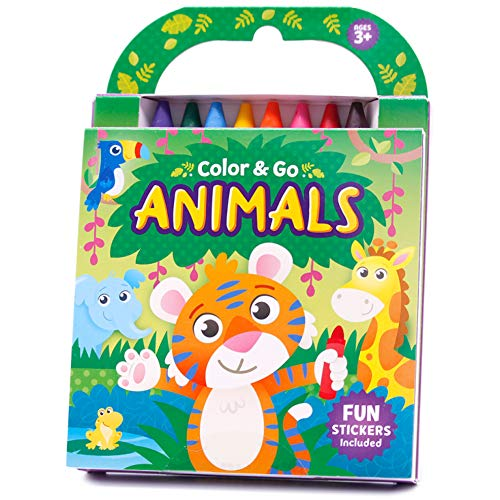 Color & Go: Animals-Monkeys, Sloths, Armadillos and More!-This Delightful Collection of 80 Coloring Pages includes 8 Jumbo Crayons and Easy-Peel Stickers (Color & Go)