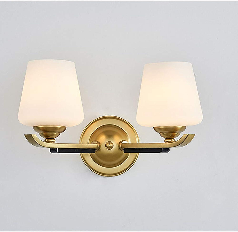 Wandleuchte Wandleuchte, Traditionelle Wandleuchte, Glaswandleuchte Beleuchtung Einzel Doppel-Licht Gold Lampe Wandeisenkunst + Glas,Double