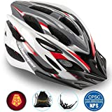 Basecamp Specialized Bike Helmet with Safety Light,Adjustable Cycling Helmet Bicycle Helmet with Removable Visor+Portable Backpack for Road&Mountain Men&Women,Youth Protection(WhiteRedGrey-BigLight)