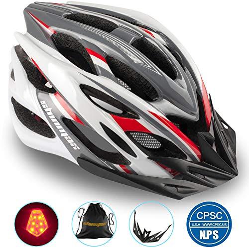 Shinmax Casco Bici con Luce di Sicurezza Uomo Donne Mountain, Certificato CE, Sicurezza Casco Regolabile Protezione Visiera a Scudo Casco da Ciclismo Unisex Casco da Bicicletta Superleggero