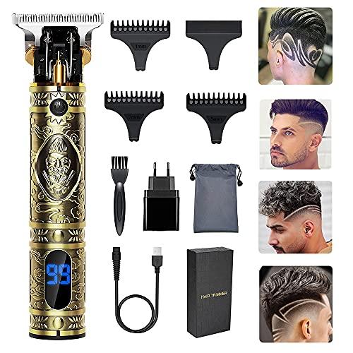Haarschneider Männer, Aikufe Rasierer Herren Elektrische Haarschneidemaschine Profi 0 mm Kabelloser Wiederaufladbar Haartrimmer T Blade Barttrimmer Herren, Bart Trimmer Rasierer mit LED-Anzeige