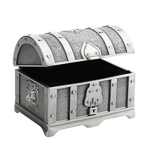 Walfront Caja de Joyero de Princesa,Cofre del Tesoro Europeo Clásico,Caja Metal con Candado,con Tallado Retro,Tallado Precioso,Aleación de Zinc,Regalo de Boda,para el Día de San Valentín, 604S