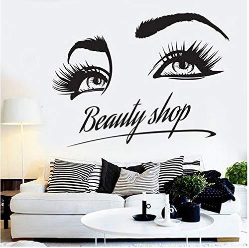 Friseursalon Salon Nagelkosmetik Shop Wandaufkleber Wimpernmuster Kunst Wanddekoration Vinyl Aufkleber 42X54Cm