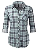 JJ Perfection Women's Plaid Shirts Long Sleeve Roll up Classic Button Down Shirt Sageteal Medium