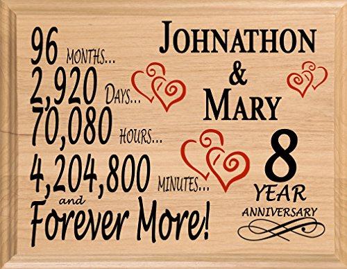 Personalized 8 Year Anniversary Wedding Gift